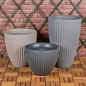 3 Size Round Ribbed Indoor Outdoor Tall Stone Effect Flower Plant Pot Planters