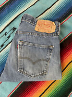Mens Levi Strauss 501 Button Fly Light Wash Distressed Denim Jeans 31x32