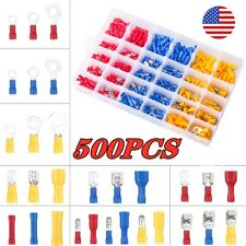 500pcs Insulated Assorted Electrical Wiring Connectors Crimp Terminals Set Kits