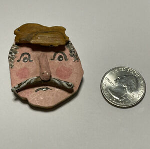 Vintage Mustached Man's Face Wood Pin Brooch OOAK