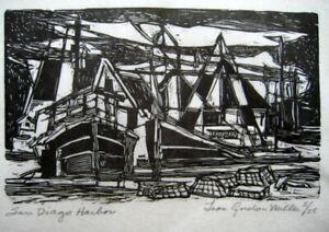 """San Diego Harbor"" Leon Gordon Miller - Wood Engraving on Rice paper - PRISTINE"
