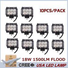10pcs 4INCH 18W CREE LED WORK LIGHT BAR DRIVING Flood BEAM JEEP TRUCK Ford QQ