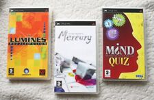 Lot of 3 PSP MIND GAMES: LUMINES PUZZLE, MERCURY & MIND QUIZ! Region 2, COMPLETE