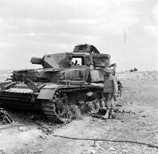 WWII B&W Photo Destroyed German Panzer IV Tank Tunisia Afrika Korps  WW2 /4101