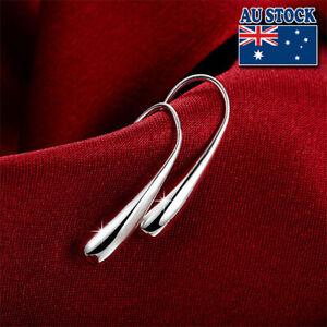Classic 925 Sterling Silver Filled Solid Womens Tear Drop Earrings Dangle