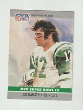 1990 Pro Set #3 Joe Namath Super Bowl III MVP card, New York Jets, low grade