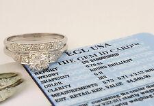 0.92 ct Vintage Platinum Round Cut Diamond Engagment Ring Set EGL USA Rtl $4,940