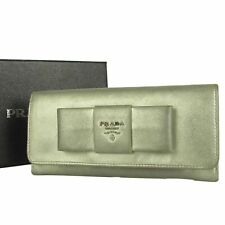 Sale! Auth PRADA Logos Ribbon Bow Saffiano Leather Wallet Purse 8014b