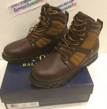 POLO RALPH LAUREN DIEGO Brown Leather Boots 812570495002 US 13 D NEW!