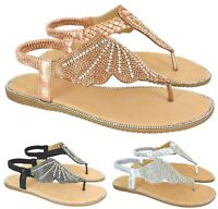 LADIES WOMENS FLAT DIAMANTE SLINGBACK TOE POST SUMMER BEACH HOILDAY SANDALS SIZE