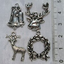 LOT MIX 5 BRELOQUES PENDENTIFS HIVER-NOEL METAL ARGENTE charms christmas *B307