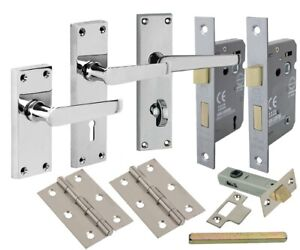 Internal Polished Chrome Door Handles Lever Lock Latch Bathroom with Hinges
