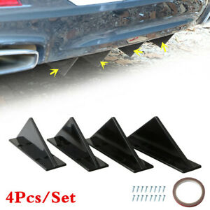 4Piece Black ABS Triangle Mini Rear Spoiler Kit Fit For Car Back Bumper Rear Lip