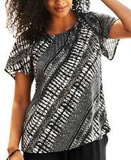 PLUS SIZES Was £29! Ladies UK 32-38 Black Beige Pattern Top -LARGE SIZES