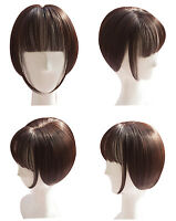 Synthetic Bob Short  Clip in Hair Topper Top Hairpiece with Air Bang for Women