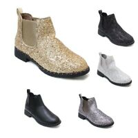 Women's Ankle Boot Short Slip On Chelsea Fashion Glitter Boots Shoes Gold Silver