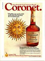Vintage 1973 Coronet VSQ Brandy Bottle Print Ad Advertisement Advertising