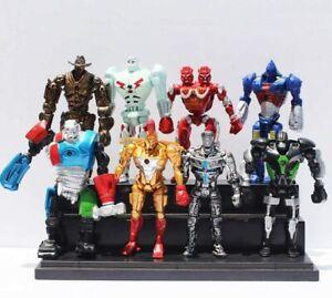 8pcs Set Real Steel Atom Ambush Midas Noisy Boy Zeus Action Figure Toy Halloween