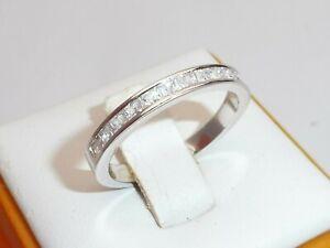Ladies 925 Solid Silver Princess Cut 12 Stone White Sapphire Half Eternity Ring