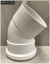 PVC-U Polypipe SB403 45 Degree Bend in White Push Fit to Glued for 110mm Soil