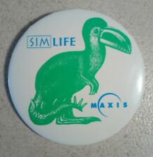 """Rare Maxis SimLife Promotional Pinback Button - Approximately 3"""" Across"""