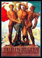 Turin Italy 1911 Vintage Poster Print Art Retro Italian Exhibition Advertising