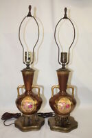 Pair of Hand-Painted & Gilded Vintage Porcelain Vase Style Table Lamps