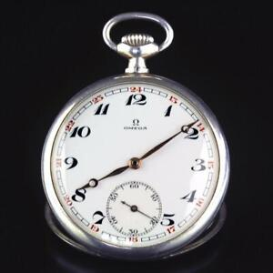 Omega Silver 900 Cal 40.6L.T2.15P Manual Wind Open Face Pocket Watch 1930