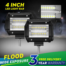 "2x 48W 4"" inch Work Lights CREE Flood LED Light Bar Reverse 4WD 12V 24V"