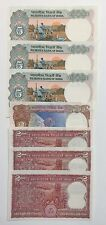 2 & 5 Rupees Reserve Bank Of India. Lot Of 7 Banknotes. UNC Like