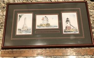 Andrew Paul Drawings of Historic America Western Lake Erie Lighthouses Print