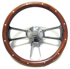 Impala, Nova Super Sport Billet & Mahogany Steering Wheel, SS Logo Engraved Horn