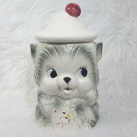 Vintage 1950s Grey Kitten COOKIE JAR Cute Cat Blue Eyes Waving Flowers JAPAN
