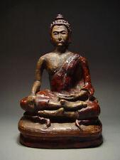 ANTIQUE RARE GLAZED EARTHENWARE MEDITATING  BUDDHA, CHIANG RAI PROVINCE 17/18thC