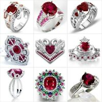 Gorgeous Silver Red Ruby White Sapphire Ring Women Wedding Bridal Jewelry Sz6-10