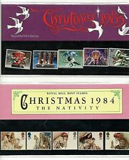 Christmas 1984 & 1985 Original Presentation Packs with mint stamps