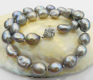 New 10-12MM SILVER GRAY REAL BAROQUE CULTURED PEARL NECKLACE 18KGP CRYSTAL CL