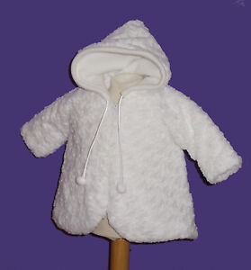 Babymantel  68/74 74/80  Taufmantel Weiß Wintermantel Kapuzenmantel Mädchen