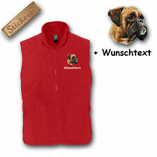 Fleece Weste Fleeceweste bestickt Stickerei Hund Boxer + Name