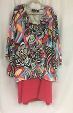Maggie Barnes 5x 34/36  Skirt Suit Floral Print Tunic and Coral Skirt Plus Size