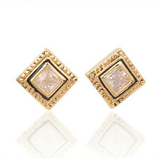 GORGEOUS 18K GOLD PLATED SQUARE CLEAR RHINESTONE & BLACK ENAMEL STUD EARRINGS