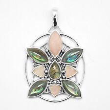 Barse Jewelry Sterling Silver, Abalone and Rose Quartz Pendant