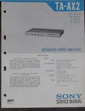 Sony TA-AX2 hifi amplifier service repair workshop manual (original copy)