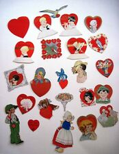 (1) Lot Vintage Valentine Table Decorations w/ Small Figures of Hearts *