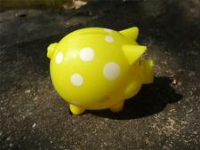 Polka Dots Hard Plastic Coin Pig Piggy Money Bank Yellow With Stopper