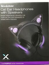 Brookstone Wired Purple Cat Ear Headphones with External Speakers NEW IN BOX