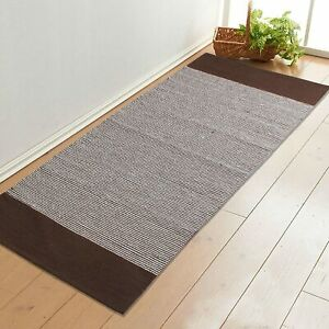Brown Color Handwoven Striped Soft Yoga/Exercise Rug (70x170 cm)Made Of Cotton