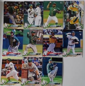 2018 Topps Series 1 - Oakland Athletics A's Team Set of 11 Baseball Cards