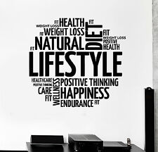Vinyl Wall Decal Healthy Lifestyle Words Motivation Diet Stickers Mural (ig4251)
