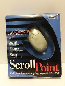 Rare Vintage White Genuine IBM Scroll Point 2-Button Mouse (AP) Open Box NOS